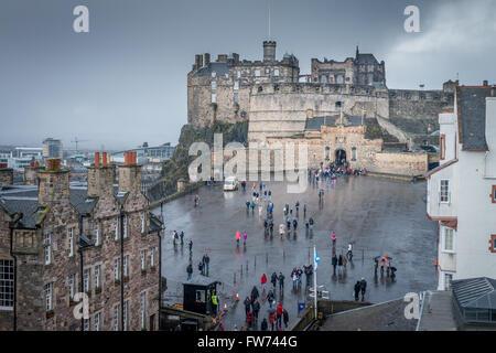 The approach to Edinburgh Castle, Edinburgh, Scotland - Stock Photo