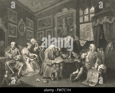 William Hogarth Marriage a la mode.  The Contract or the marriage settlement - Stock Photo