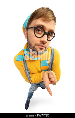a man in a yellow sweater and overalls distorted perspective - Stock Photo