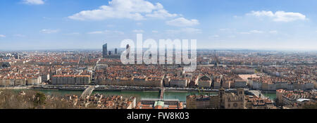 Panoramic view of the city of Lyon, France. - Stock Photo