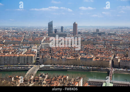 Aerial view of the city of Lyon, France. - Stock Photo