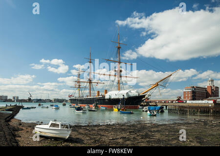 Spring afternoon at HMS Warrior in Portsmouth Historic Dockyard, UK. - Stock Photo