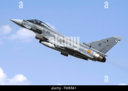 A Spanish Air Force EF-2000 Typhoon taking off from Konya during the international Exercise Anatolian Eagle 2014 - Stock Photo