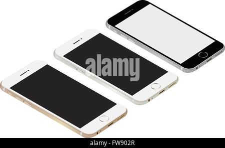 smartphone realistic vector mockup. Can use for printing and web object. Game and application mockups. - Stock Photo