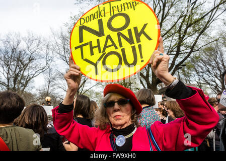 New York, NY - 31 March 2016 - Approximately 200 Pro Choice advocates rallied in Columbus Circle, outside Trump - Stock Photo