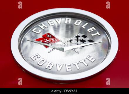 Old Chevrolet Corvette logo. - Stock Photo