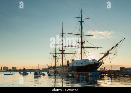 Sunset at HMS Warrior in Portsmouth Historic Dockyard, UK. - Stock Photo