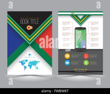 Abstract Vector Brochure Template with new smartphone. Flyer Layout. Flat Style. Infographic Elements. Can use for - Stock Photo