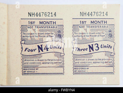 WWII Motor Fuel Ration Book - Stock Photo