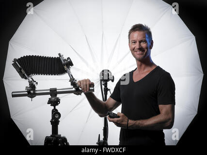 Portrait of Ben Welsh, a professional photographer living in Tarifa, Cadiz, Andalusia, Southern Spain. - Stock Photo