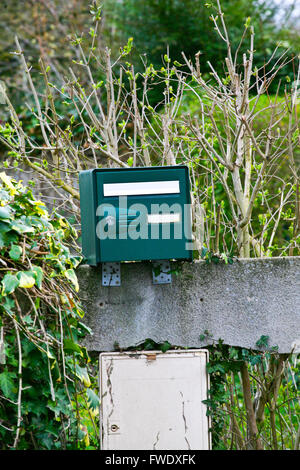Green mail box in a garden in Orsay town,France - Stock Photo