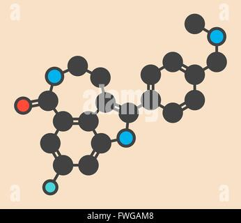 Rucaparib cancer drug molecule (PARP inhibitor) Stylized skeletal formula (chemical structure) Atoms are shown as - Stock Photo