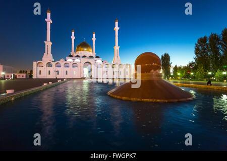 Nur Astana Mosque at dusk, Astana, Kazakhstan, Central Asia - Stock Photo
