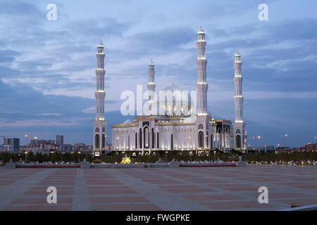 Hazrat Sultan Mosque, the largest in Central Asia, at dusk, Astana, Kazakhstan, Central Asia - Stock Photo