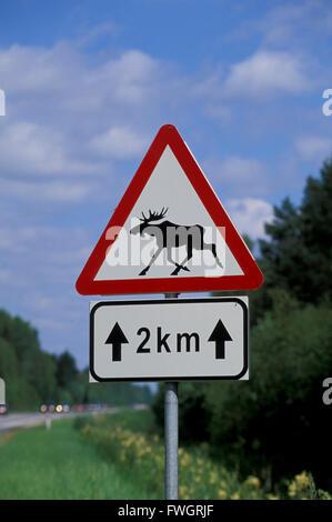 Elk warning traffic sign, Estonia, Europe - Stock Photo