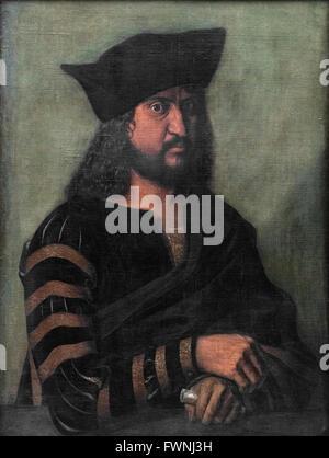 Albrecht Dürer (1471-1528), Portrait of Elector Frederick the Wise of Saxony (1463-1525) ca. 1500. - Stock Photo
