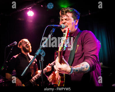 Broken Witt Rebels' Danny Core on vocals & rhythm guitar - Stock Photo