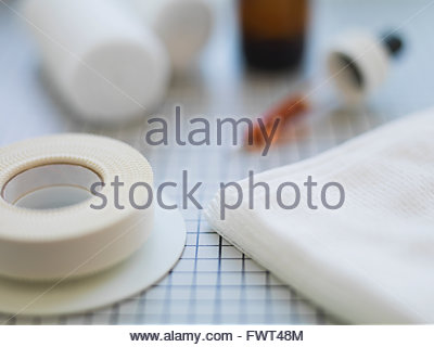 Adhesive bandages on table - Stock Photo