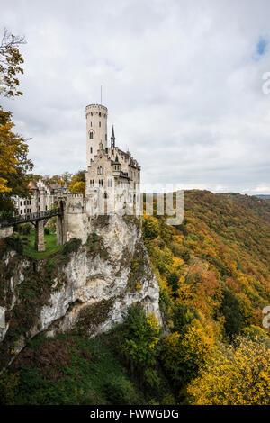 Schloss Lichtenstein castle, Honau, Swabian Jura, Baden-Württemberg, Germany - Stock Photo