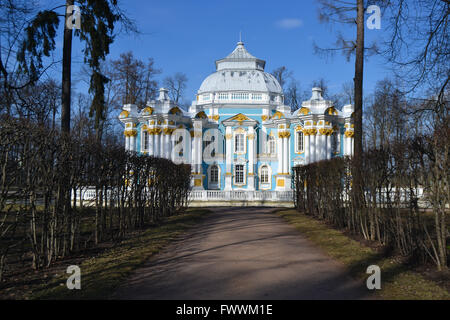 Blue Palace at the end of the tree alley, Puskin Russia - Stock Photo