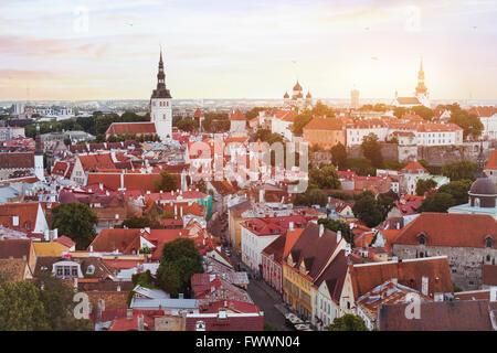 panoramic view of Tallinn, skyline of historical center, Estonia - Stock Photo