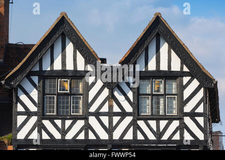 Detail of a typical medieval half-timbered building in the centre of Stratford Upon Avon, England. - Stock Photo