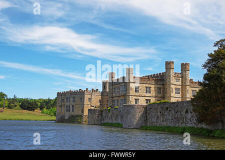 Leeds Castle in a lake in Kent in England. The castle was built in the twelfth century as a king residence. Now - Stock Photo