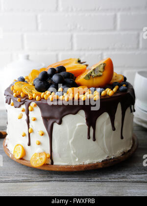birthday cake with fruits decorations, food closeup - Stock Photo