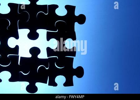 Puzzle, game, play, blue, puzzle piece, hole, missing, solution, problem, solve, solving, jigsaw, jigsaw puzzle, - Stock Photo