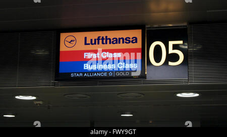 Lufthansa First Class Check In Counter - Stock Photo