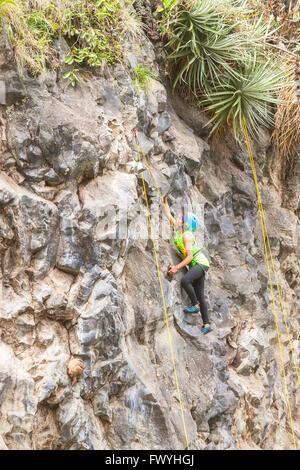 Banos, Ecuador - 30 November 2014: Basalt Challenge Of Tungurahua, Exercise Climbing Rescue, Demonstration Of A - Stock Photo