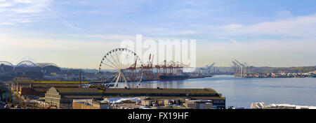 Port of Seattle along Puget Sound view from waterfront pier panorama - Stock Photo