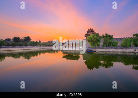 Beijing, China forbidden city outer moat - Stock Photo