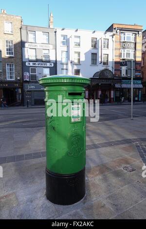 Green Post Box in Dublin, Republic of Ireland -1 - Stock Photo