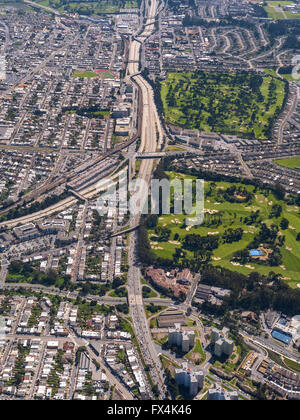 Aerial view, Freeway 101 south in South San Francisco, San Francisco, Bay Area, United States of America, California - Stock Photo