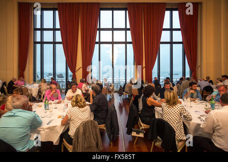 A reception in the ambassador function room of the Biarritz municipal casino (France). Picture windows which open - Stock Photo