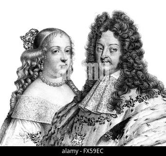 Louis XIV, 1638-1715, Louis the Great, Sun King, Ludwig XIV., King of France and his first wife, Maria Theresa of - Stock Photo