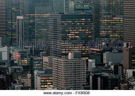Skyscrapers at dusk in Marunouchi, Tokyo, Japan. Friday February 5th 2016 - Stock Photo