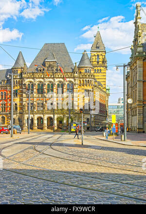 Courthouse of Bremen in Germany. It is called Landgericht and placed on Domsheide square in the Old town of Bremen. - Stock Photo