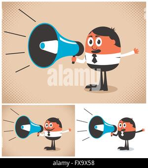 Man speaking in megaphone. The illustration is in 3 versions. - Stock Photo