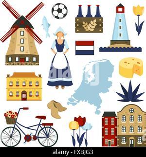 Netherlands Symbols Set - Stock Photo