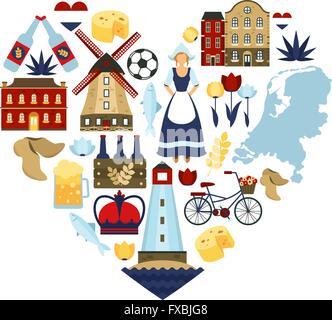 Netherlands Heart Concept - Stock Photo
