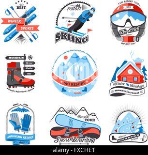 Ski resort emblems set - Stock Photo