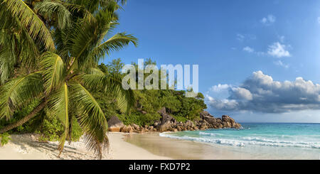 panoramic view of anse georgette in praslin island seychelles - Stock Photo