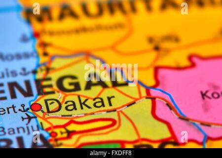 Dakar, Capital City of Senegal in Africa on the World Map - Stock Photo