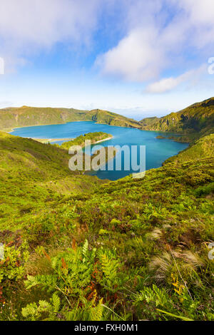 Lagoa do Fogo, volcanic crater lake on Sao Miguel island, Autonomous Region of the Azores - Stock Photo
