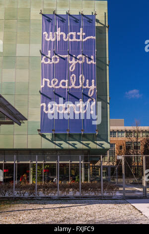 Banner with the slogan 'What Do You Really Want ' hanging outside the Isabella Stewart Gardner Museum , Boston , - Stock Photo