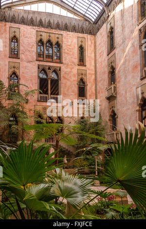 The Garden Courtyard at Isabella Stewart Gardner Museum, Boston , Massachusetts, USA - Stock Photo