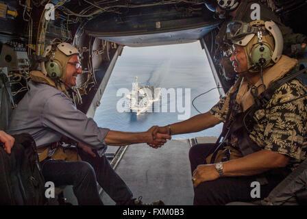 U.S Secretary of Defense Ash Carter shakes hands with  Philippine Secretary of National Defense Voltaire Gazmin, - Stock Photo
