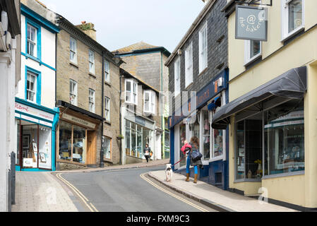 The Fore Street and shops in Kingsbridge Devon UK - Stock Photo